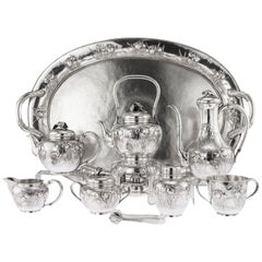 Japanese Solid Silver Massive Tea & Coffee Service on Tray, circa 1900