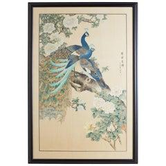 Japanese Spring Peacocks Painting on Silk