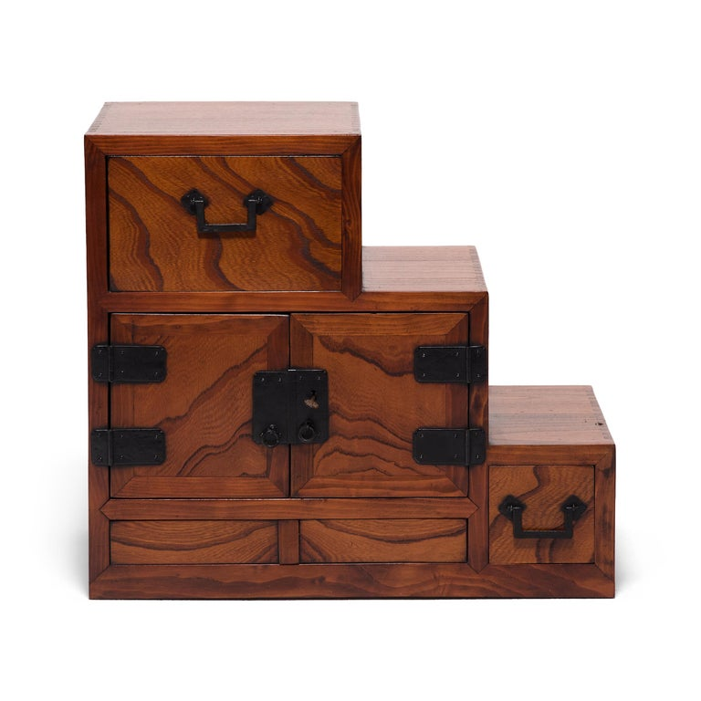 Showa Japanese Step Tansu Chest, circa 1930s For Sale