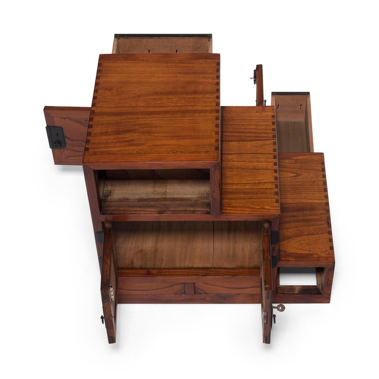 Japanese Step Tansu Chest, circa 1930s For Sale 2