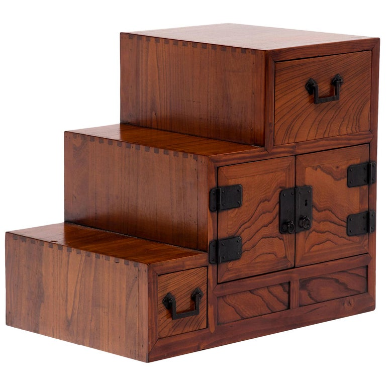 Japanese Step Tansu Chest, circa 1930s For Sale