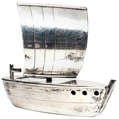Japanese Sterling Silver Sail Boat Pepper Shaker