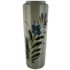 Japanese Stoneware Hand Painted Floral Vase