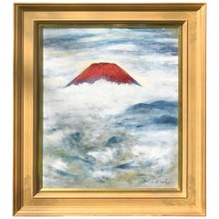 "Japanese Stunniing ""Red Mount Fuji Among Clouds"" Oil Painting Signed Masui"