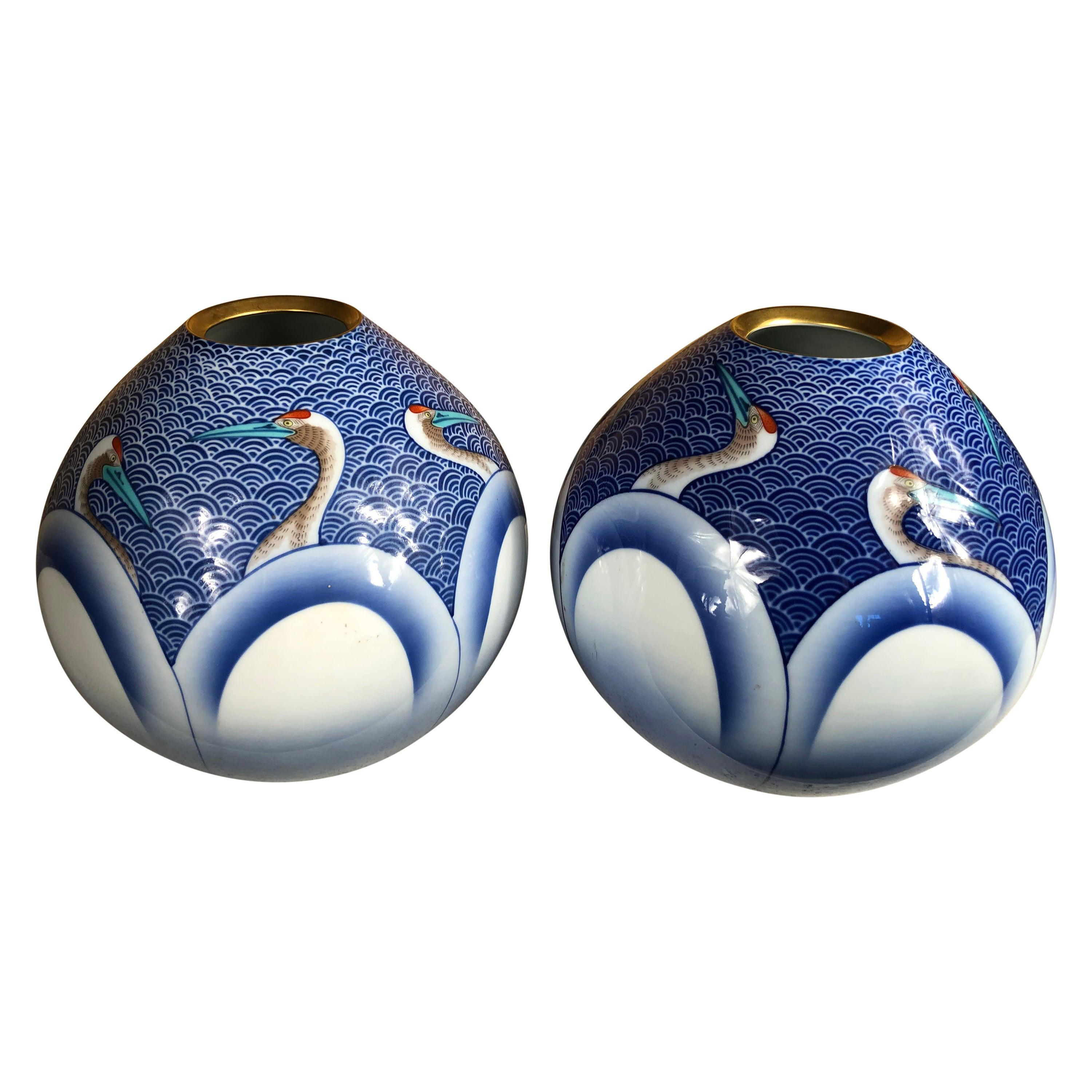 Japanese Stunning Pair of Antique Blue and White Crane Vases