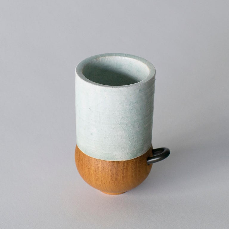 Carved Japanese Style Ceramic Cup Takuya Hamajima Contemporary Zen For Sale