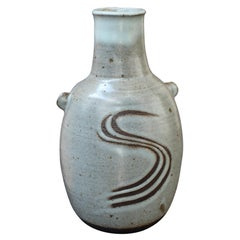 Japanese Style Ceramic Vase with Lugs by Janet Leach '1981'