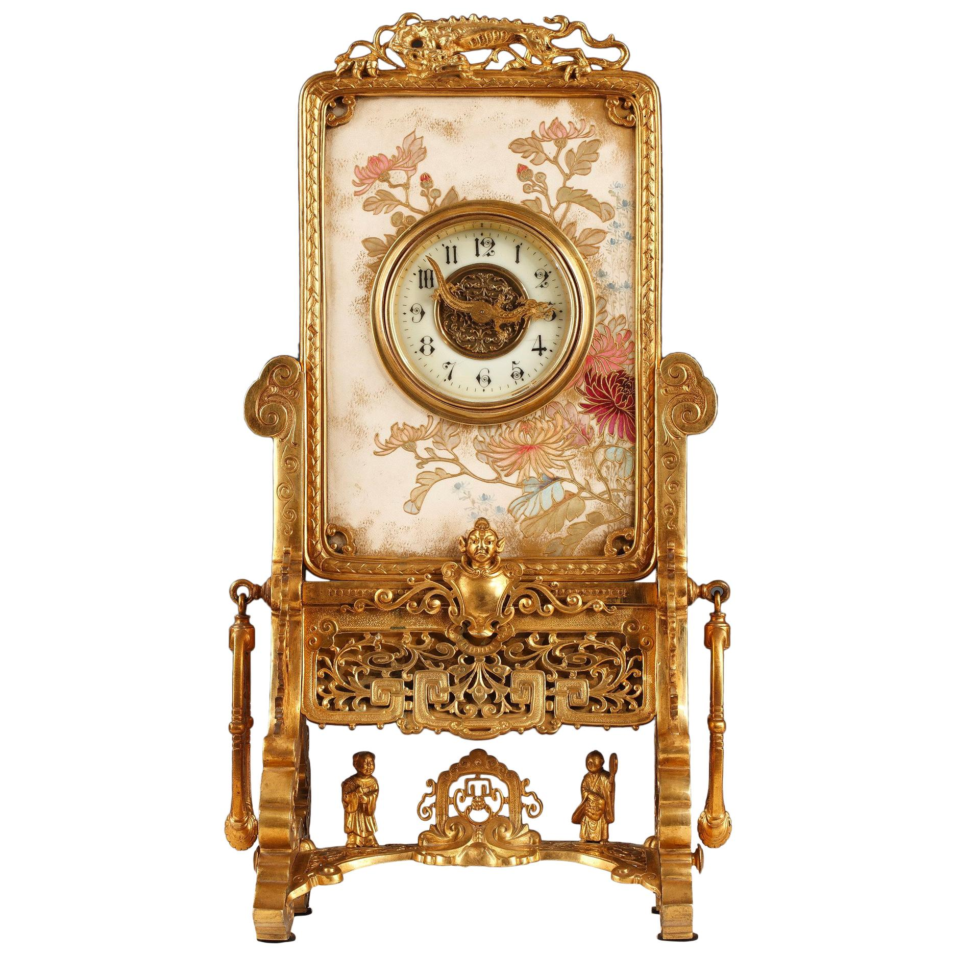 Japanese Style Clock Attributed to L'Escalier de Cristal, France, Circa 1890