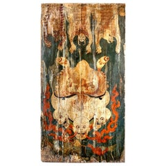 Japanese Style Painting on Tapestry and Wood