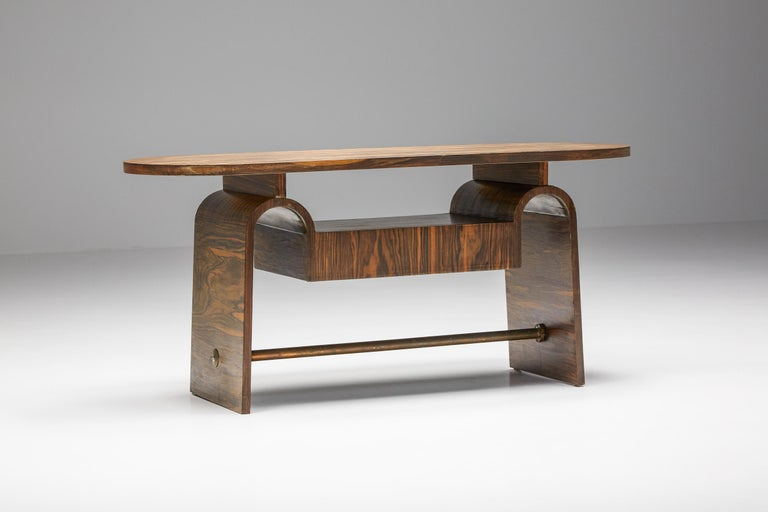 Mid-Century Modern Japanese Rosewood Side Table, organic coffee table with drawers For Sale