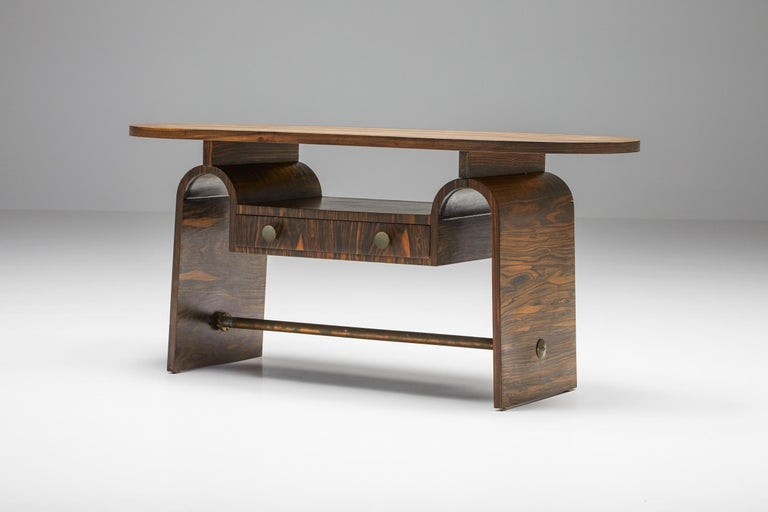 Mid-20th Century Japanese Rosewood Side Table, organic coffee table with drawers For Sale