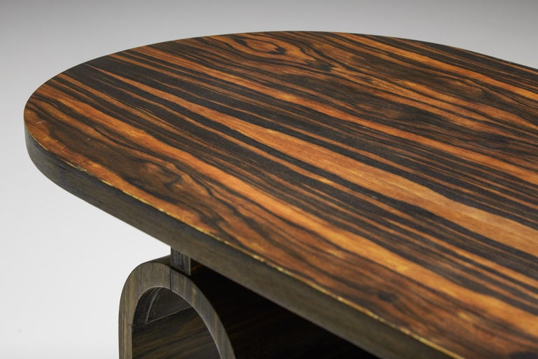 Japanese Rosewood Side Table, organic coffee table with drawers For Sale 2