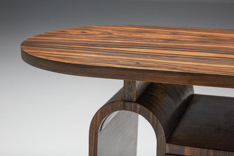 Japanese Rosewood Side Table, organic coffee table with drawers For Sale 3