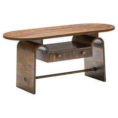 Japanese Rosewood Side Table, organic coffee table with drawers