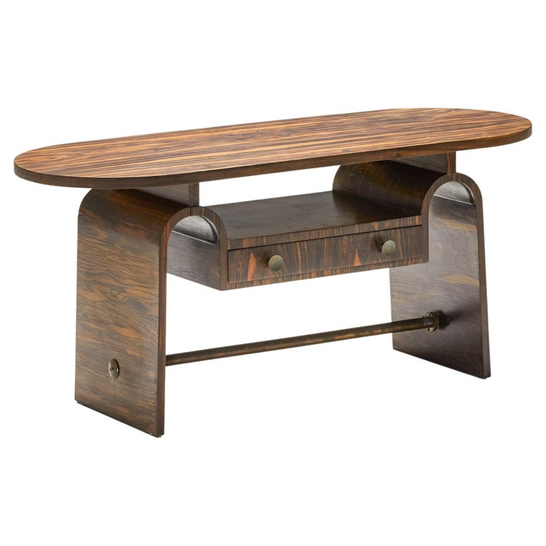 Japanese Rosewood Side Table, organic coffee table with drawers For Sale