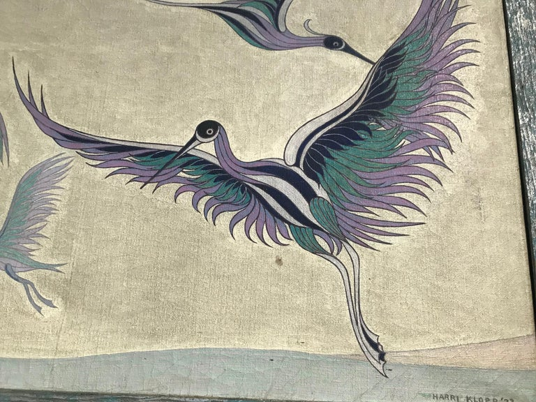 American Japanese Style Wall Screen Depicting Cranes by Harry Klopp For Sale