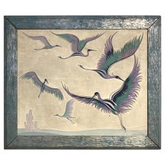 Japanese Style Wall Screen Depicting Cranes by Harry Klopp