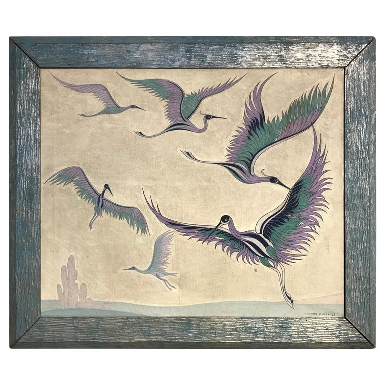 Japanese Style Wall Screen Depicting Cranes by Harry Klopp For Sale