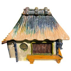 "Japanese Superb ""Mountain House"" Treasure Box Hand Painted Colors, 1920s-1930s"