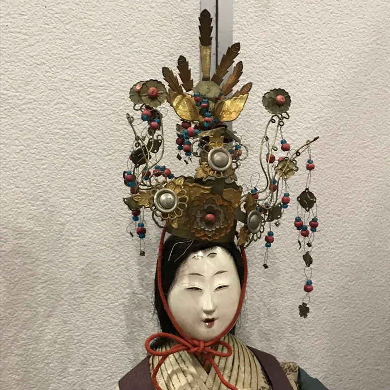 From our recent Japanese Acquisitions Travels.  A rare couple- a princess and prince from ancient times, 18 inches High  We were lucky to meet a wonderful elderly lady who had been collecting Japanese dolls for several decades. This pair of dolls