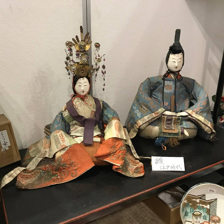 Japanese Superb Pair of TalI Imperial Princess & Prince Dolls, Edo Period, 1840 For Sale 2