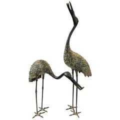 Japanese Taisho Bronze Crane Sculptures