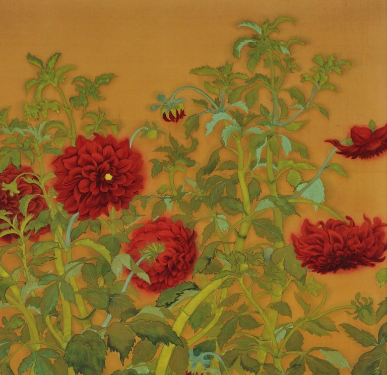 """Tanaka Tessen (b.1890)  Dahlias and Roosters  Taisho period, circa 1920  Framed painting. Mineral pigments and ink on silk.  Dimensions (framed):  H. 159 cm x W. 97 cm x D. 2.5 cm (62.5"""" x 38"""" x 1"""")  An ornate and complex composition in which the"""