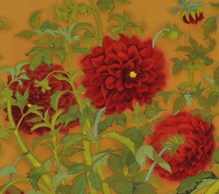 Hand-Painted Japanese Taisho Era Framed Silk Painting, Dahlias and Roosters, circa 1920 For Sale