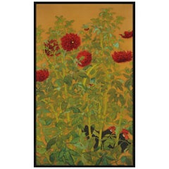 Japanese Painting, Framed Panel, Dahlias and Roosters, circa 1920