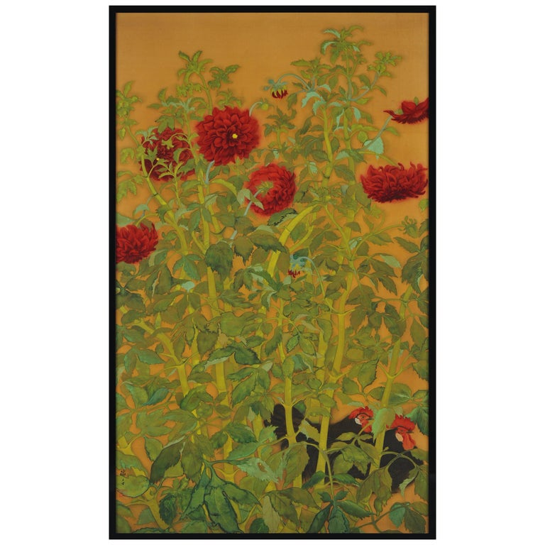 Japanese Taisho Era Framed Silk Painting, Dahlias and Roosters, circa 1920 For Sale