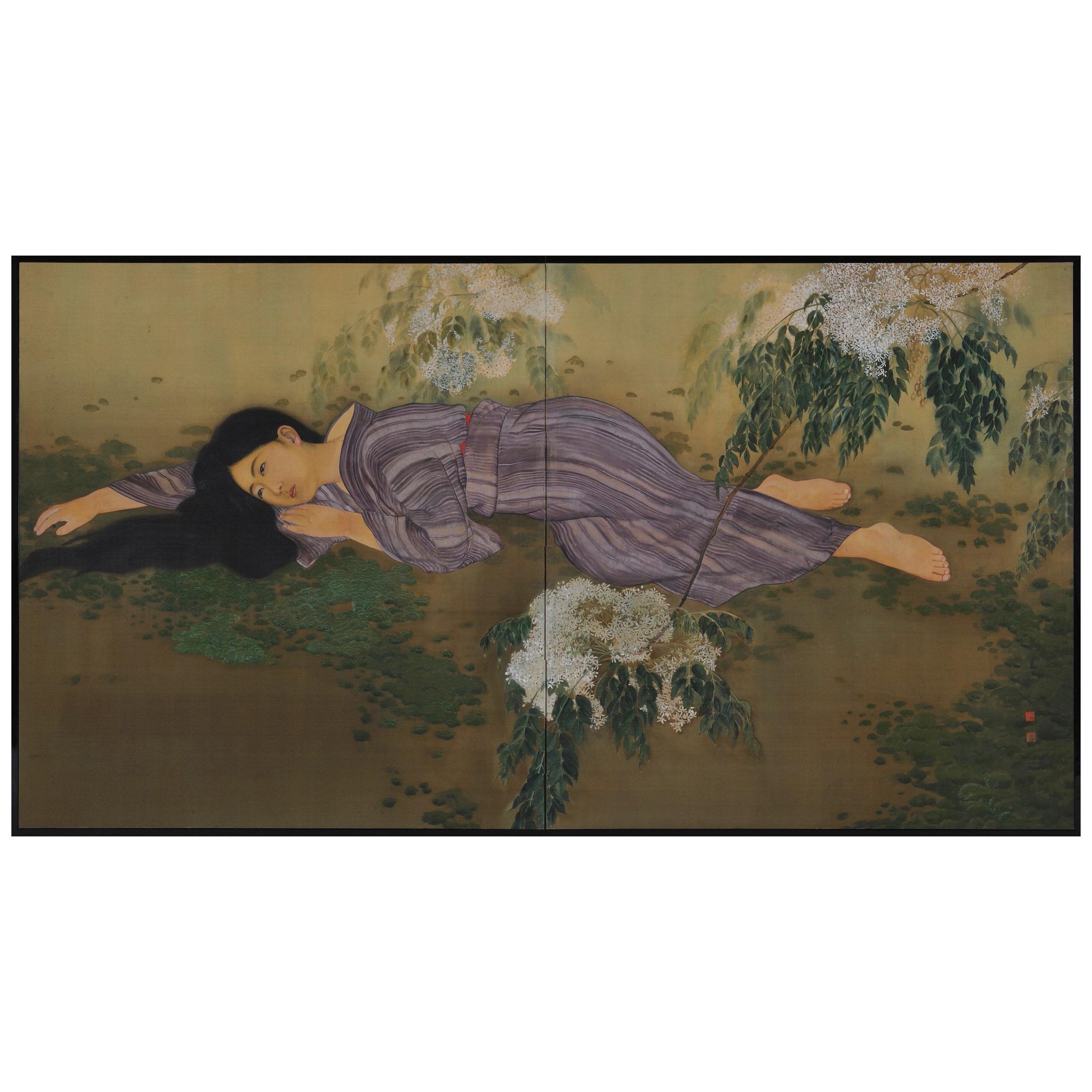 Japanese Screen, Lady under a Lilac Tree, circa 1910-1915, Taisho era.