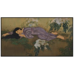Japanese Taisho Era Silk Screen, Young Lady under a Lilac Tree, circa 1910-1915