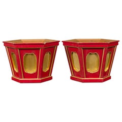 Japanese Taishō Gold and Red Lacquer Hexagonal Planters with Reeded Cartouches