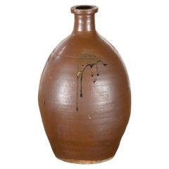 Japanese Taishō Period 1900s Tamba Tachikui Ware Brown Sake Jar with Drip Glaze