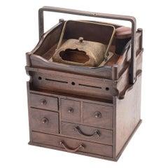 Japanese Taisho Period Chestnut and Copper Tobacco Companion, circa 1920