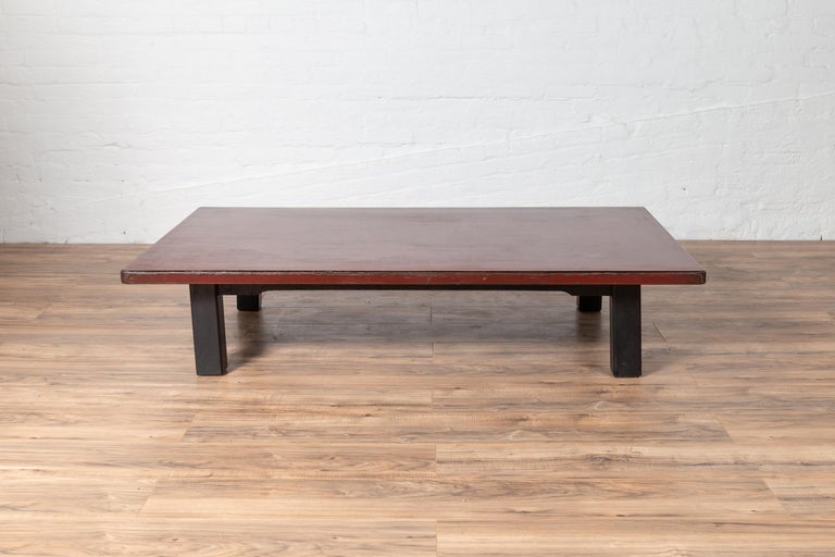 Japanese Taishō Period Early 20th Century Coffee Table with Negora Lacquer For Sale 4