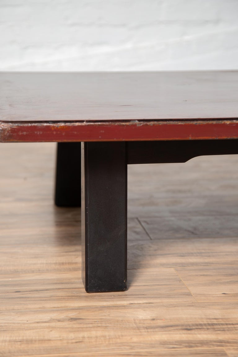 Japanese Taishō Period Early 20th Century Coffee Table with Negora Lacquer For Sale 2