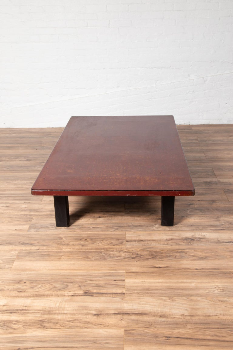 Japanese Taishō Period Early 20th Century Coffee Table with Negora Lacquer For Sale 3