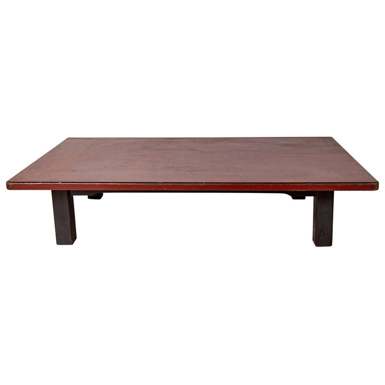 Japanese Taishō Period Early 20th Century Coffee Table with Negora Lacquer For Sale