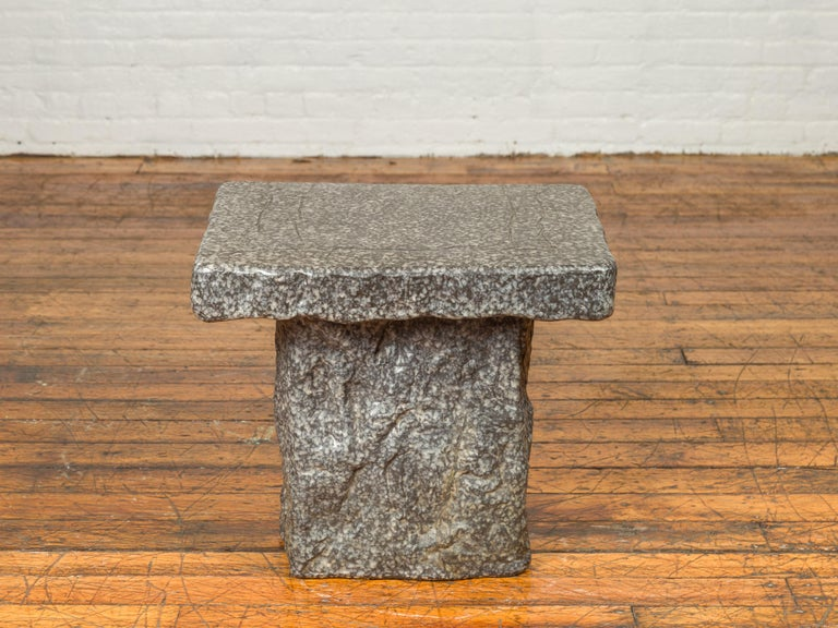 Japanese Taishō Period Early 20th Century Rustic Exterior Stone Garden Seat 7