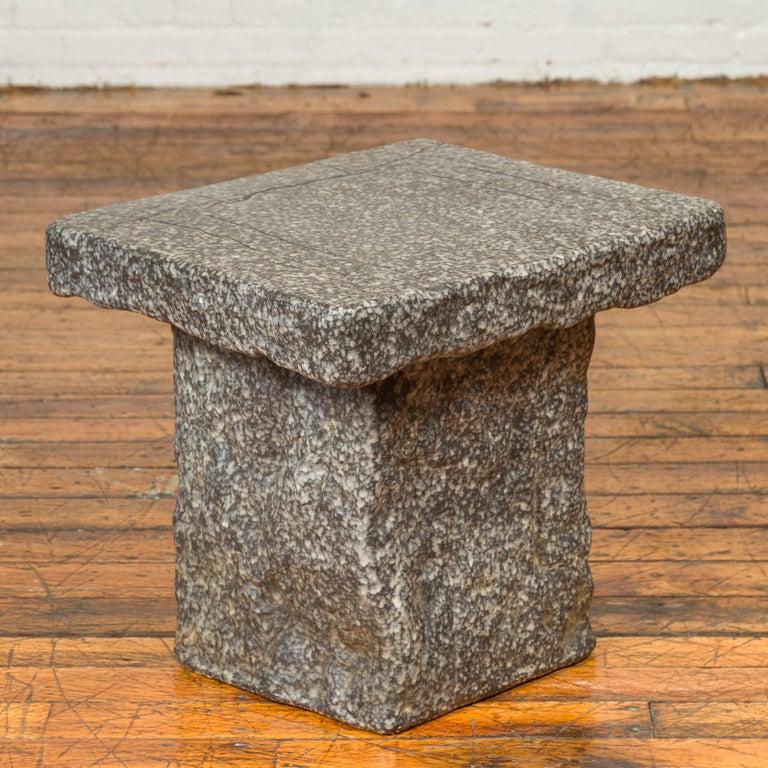 Japanese Taishō Period Early 20th Century Rustic Exterior Stone Garden Seat 1