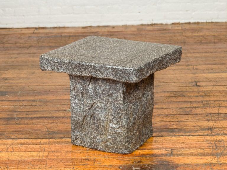Japanese Taishō Period Early 20th Century Rustic Exterior Stone Garden Seat 3
