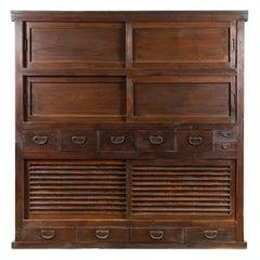 Japanese Taishō Period Early 20th Century Wardrobe Cabinet with Sliding Doors