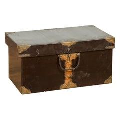 Japanese Taishō Period Kiri Wood Lidded Box with Cut Brass Foliage Hardware