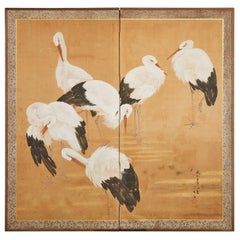 Japanese Taisho Period Two-Panel Screen Wading Cranes