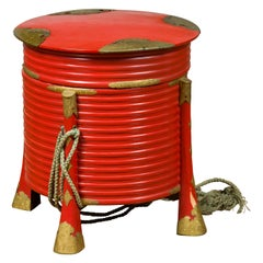Japanese Taishō Red Lacquered Hokai Box with Brass Accents and Original Rope
