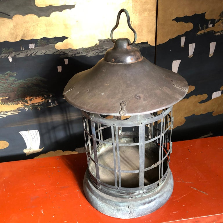 Japanese Tall Antique Lantern with Double Doors and Fine Details For Sale 4