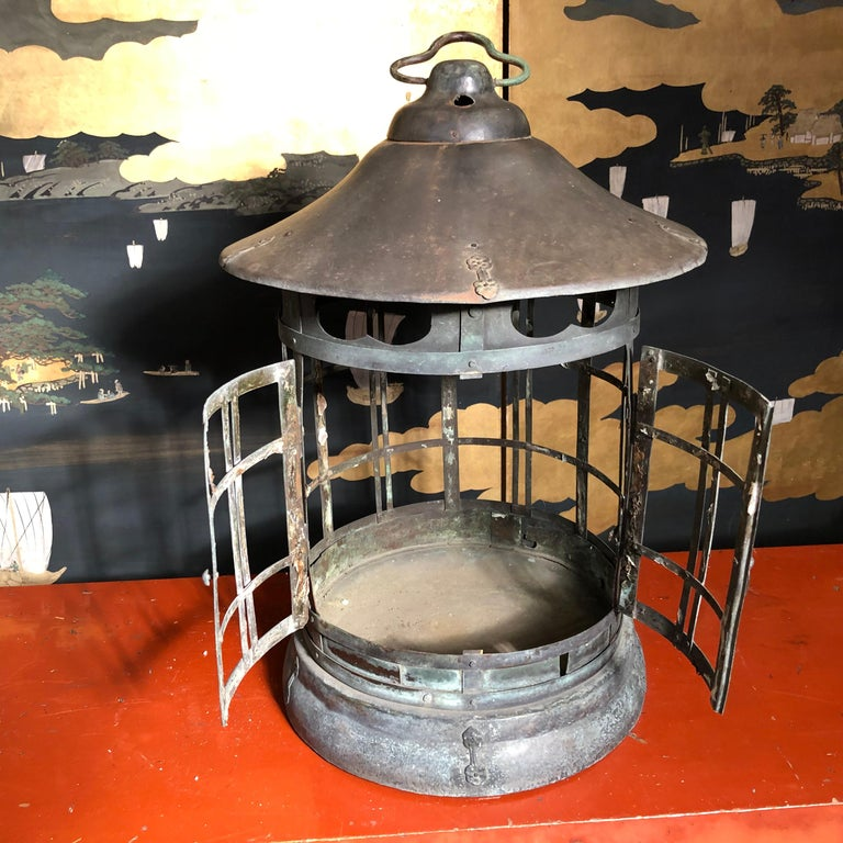 Japanese Tall Antique Lantern with Double Doors and Fine Details For Sale 6