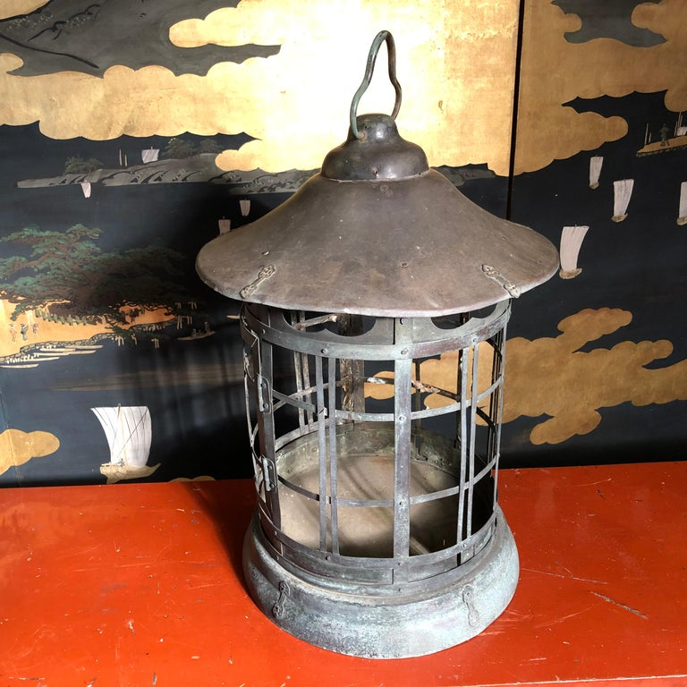 Japanese Tall Antique Lantern with Double Doors and Fine Details For Sale 7