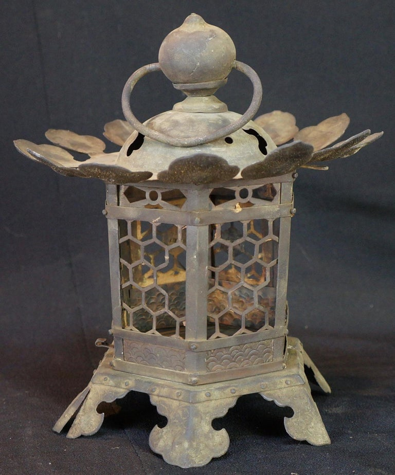 Japan, an early 19th century handsome antique handcrafted bronze lantern- an unusual one- with early design
